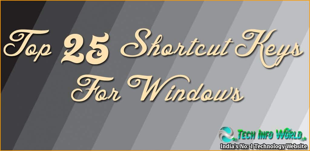 top 25 shortcut keys for windows