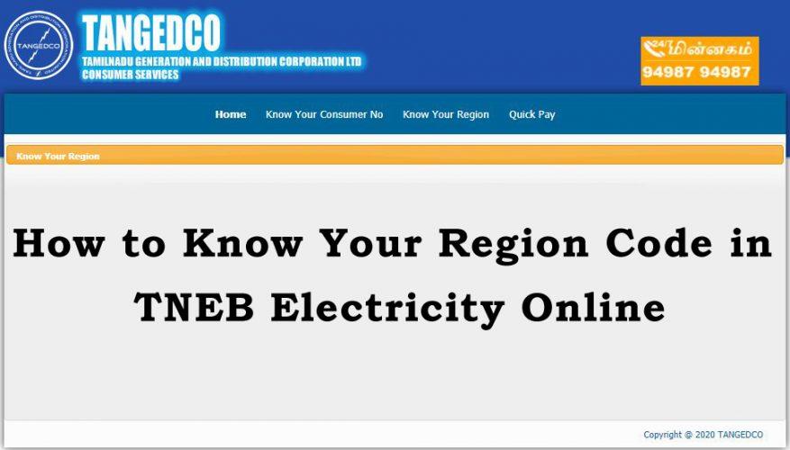 tneb region code list online tneb